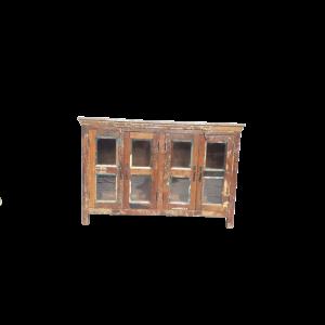 Credenza bassa con ante vetro in legno di teak recuperato