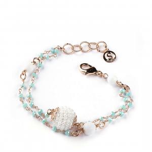 Sovrani bracciale Cristal Magique con agata bianca e more J5734