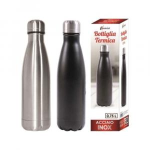 Bottiglia Termica Capacità Massima 750 Ml Colori Disponibili Metallizzati Acciaio e Nero Contenitore Per Bevande Da Viaggio Casa