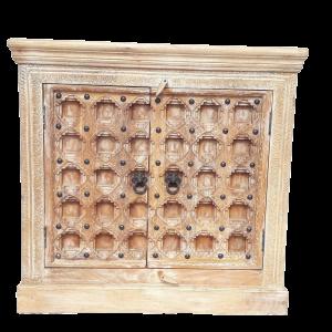 Credenza 2 ante in legno di palissandro indiano brown wash con 2 ante forziere