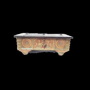 Baule in legno di palissandro indiano con frame intagliato colorato
