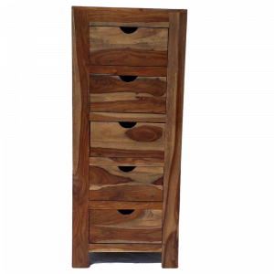 Cassettiera 5 cassetti in legno di sheesham naturale