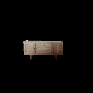 Porta Tv in legno di mango brown wash con 2 ante intagliate 2 cassetti