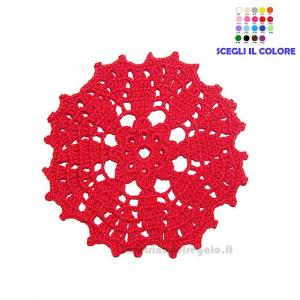 4 pz - Sottobicchiere rotondo Rosso ad uncinetto 13.5 cm - Handmade in Italy