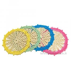 4 pz - Sottobicchiere Beige con bordi colorati 11.5 cm - Handmade in Italy