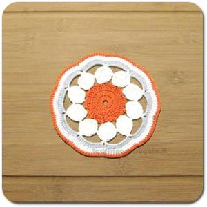 4 pz - Sottobicchiere arancione, bianco e grigio ad uncinetto 14 cm - Handmade in Italy
