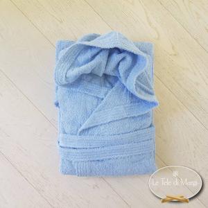 Accappatoio con cappuccio azzurro in cotone Cardato