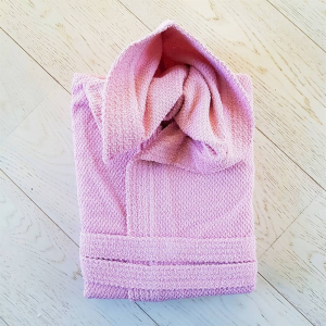 Accappatoio con cappuccio chicco di riso rosa