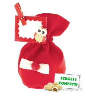 Portaconfetti palla Rosso con molletta e tag Gufo 12 cm - Sacchetti laurea