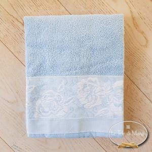 Telo doccia jacquard Rose azzurro
