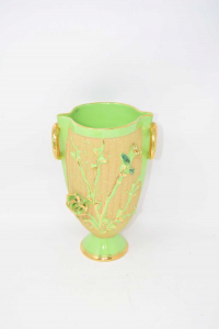 Ceramic Vase Green Fluo And Gold Height 26 Cm