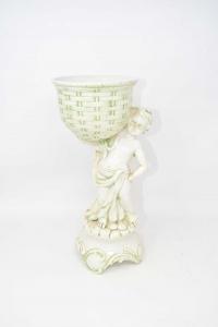 Statua Con Vaso Porta Piantina In Ceramica Altezza 32 Cm