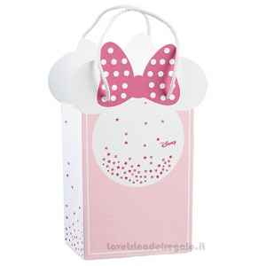 Busta regalo Minnie Stars Rosa 16x8x21 cm - Scatole battesimo bimba