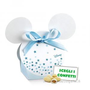 Portaconfetti Mickey Mouse Stars Celeste con orecchie 5.5x4x10.5 cm - Scatole battesimo bimbo