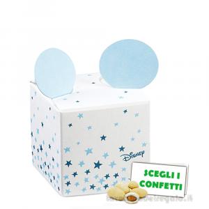 Portaconfetti Mickey Mouse Stars Celeste con orecchie 5x5x5 cm - Scatole battesimo bimbo