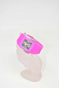 Orologio Da Polso Donna In Gomma Rosa Mon Watch + Batteria Nuova