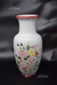 Vaso Porta Fiori In Ceramica Bianca Dipinto A Mano Made In Italy Altezza 30 Cm