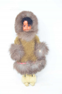 Doll Vintage With Dress Wintery In Real Hair Height 29 Cm