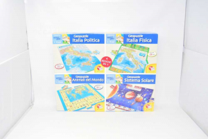 4 Puzzle In 1 Geopuzzle 5-10 Years Lisciani Games