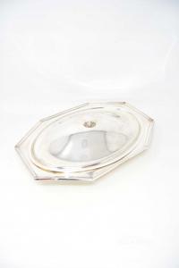 Pentola Ovale Con Coperchio Calegaro Silver Plated 39 Cm Diametro