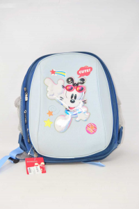 Backpack Children Bobdog New Light Blue And Blue Double Zipper 30x35 Cm