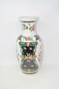 Vaso In Ceramica Orientale Fantasia Bianca E Nera Fiori 36 Cm Altezza