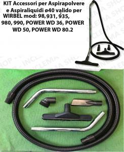 Kit accessoires pour les aspirateurs ø40 valide pour WIRBEL: 98, 931, 935, 980, 990, POWER WD 36, POWER WD 50, POWER WD 80.2