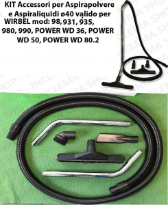 Accessories kit for vacuum cleaner ø40 valid for WIRBEL 98, 931, 935, 980, 990, POWER WD 36, POWER WD 50, POWER WD 80.2