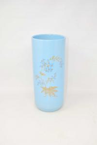 Vaso In Ceramica Azzurro Con Con Ramo Fiori Blu Altezza 31 Cm
