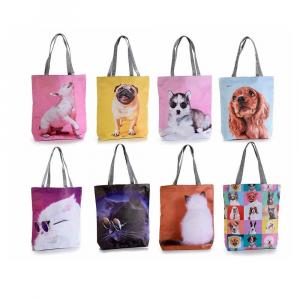 Borsa stampa cani e gatti similpelle e stoffa