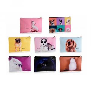 Pochette in similpelle con zip e stampa cani e gatti