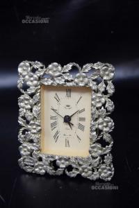 Orologio Da Tavolo Real Clock Argentato A Fiori