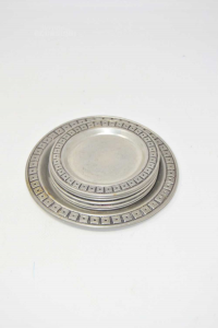 Set Coasters 6 + 1 Pieces In Pewter