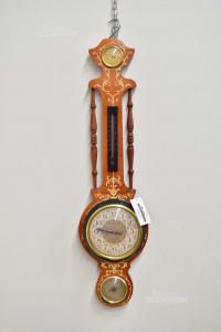 Orologio Da Parete In Legno Con Temperatura E Barometro 83 Cm Funzionante