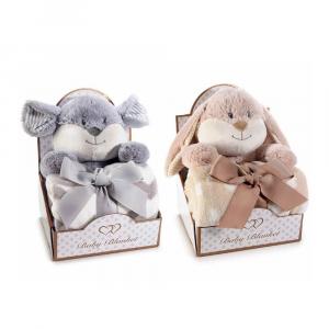 Animale di peluche con coperta in pile in confezione regalo
