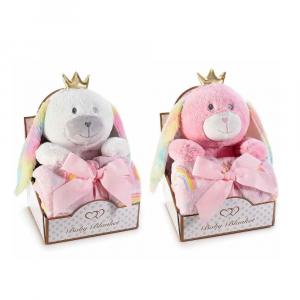 Animaletto di peluche con coperta in pile in confezione regalo