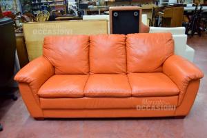 Sofa 3 Seats In Similpelle Semeraro Orange (defect Corner)