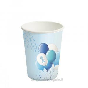 8 pz - Bicchieri con palloncini azzurri Primo Compleanno bimbo - Party tavola