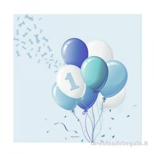 20 pz - Tovaglioli con palloncini azzurri Primo Compleanno bimbo 33x33 cm - Party tavola