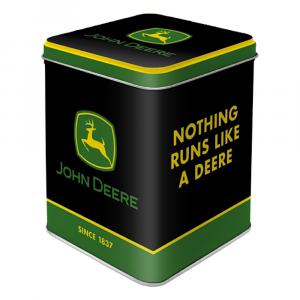Scatolina da the John Deere logo black di latta