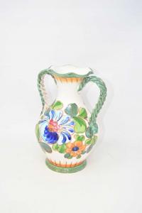 Anfora In Ceramica Simil Bassano Fiori Blu Con Manici Verdi (base Sbaccata) 26 Cm