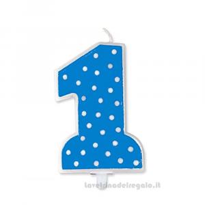 Candelina azzurra a pois in cera Primo Compleanno bimbo 9 cm - Party torta