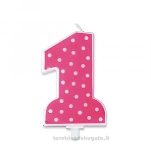 Candelina fucsia a pois in cera Primo Compleanno bimba 9 cm - Party torta