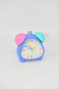 Allarm Clock From Bedside Table In Plastic Blue Green Pink 11 Cm