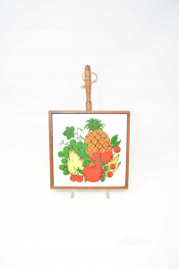 Ceramic Trivet With Edge Wood And Handle