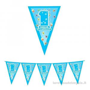 Ghirlanda bandierine One Light Blue Primo Compleanno bimbo 6mt x 25cm - Party allestimento
