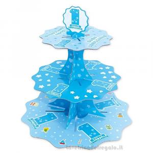 Alzatina One Light Blue Primo Compleanno bimbo 35 cm - Party allestimento