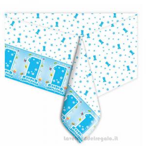 Tovaglia One Light Blue Primo Compleanno bimbo 140x270 cm - Party tavola