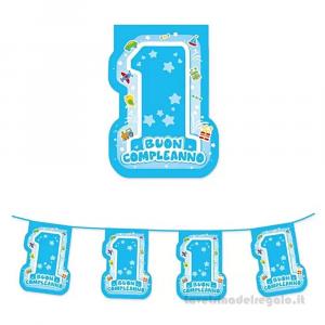 Ghirlanda bandierine One Light Blue Primo Compleanno bimbo 6 mt - Party allestimento
