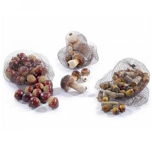 Un sacchetto a rete funghi ghiande castagne